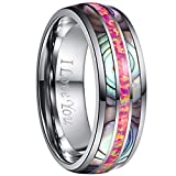 NUNCAD Abalone Shell and Carmine Opal Tungsten Carbide Wedding Ring for Men Comfort Fit Size 9