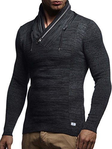 (Leif Nelson Men's Knitted Pullover Hoodie Sweatshirt Long Sleeve Sweater Slim Fit LN1585; Small, Black-Anthracite)