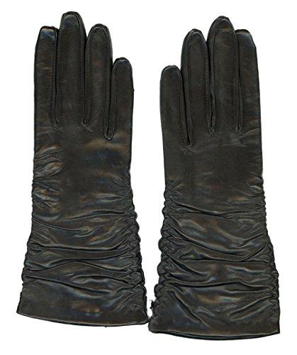 GRANDOE Women's PARIS Ruched Sheepskin Leather Glove Cashmere Blend 3 btn length (Black, Large)