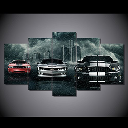 (Super cars Dodge challenger Chevrolet Camaro Ford Mustang Shelby print poster canvas decoration 5 pieces)