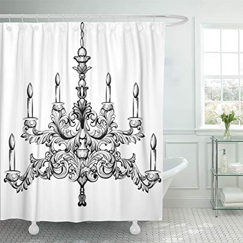 Semtomn Shower Curtain Candelabra Black Antique Baroque Luxury Accessory Sketch White Shower Curtains Sets with 12 Hooks 72 x 78 Inches Waterproof Polyester Fabric