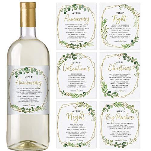 Marriage Milestones, Set of 6, Waterproof Gold Greenery Wine Bottle Labels, Marriage Firsts, Wedding Milestones, Wedding Gift, Ideas, Favors