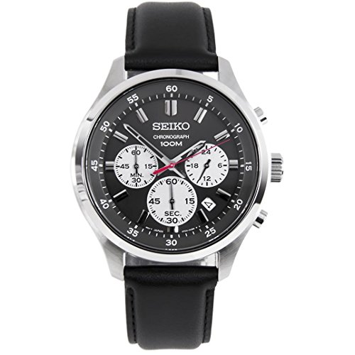 9df37f818 Seiko Chronograph Black Dial Leather Mens Watch SKS595 by Seiko Watches