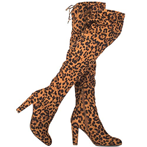ILLUDE Women's Thigh High Stretch Boot - Sexy Over The Knee Pull on Boot - Drawstring Block Heel Shoe - Comfortable Knee High Boots