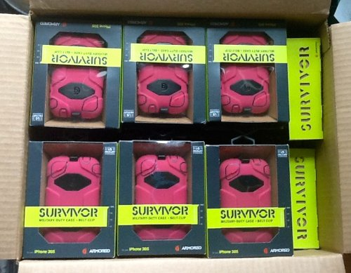 Case of 40: Survivor for iPhone 3G/3GS, Pink/Black (GB35377)