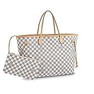 Neverfull Style Canvas Woman Organizer Handbag Azur Tote Shoulder Fashion Bag GM Size by LAMB