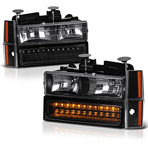 VIPMOTOZ For 1988-1993 Chevy C/K 1500 2500 3500 Pickup Suburban Blazer Headlights - Matte Black Housing, Driver and Passenger Side