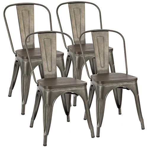 Furmax Metal Dining Chair with Wood Seat,Indoor-Outdoor Use Stackable Chic Dining Bistro Cafe Side Metal Chairs Wood Gun Metal (Set of 4)