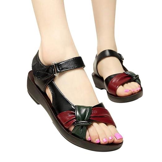 8847d8932e87 Women Leather Wedge Sandals Platform Ankle Strap Open Toe Shoes Bowknot Shoes  Big Size (Black
