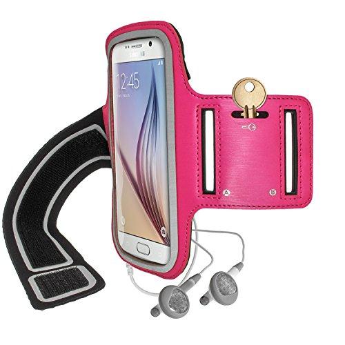 igadgitz Reflektierenden Anti-Rutsch Pink Sports Jogging Armband Laufen Fitness Oberarmtasche für Samsung Galaxy S6 SM-G920 & S7 SM-G930 Mit Schlüsselfach