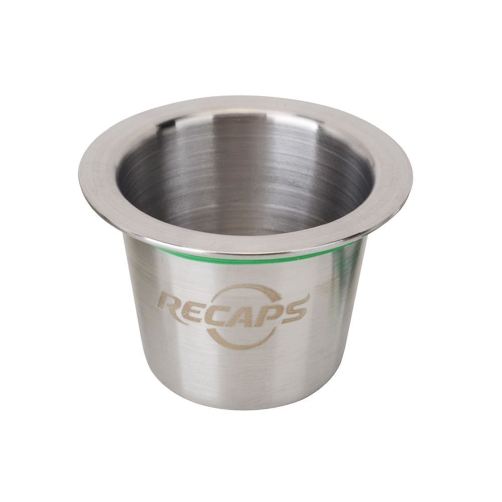 RECAPS Stainless Steel Refillable Capsules Reusable Pods Compatible with Nespresso Machines Makers (1 Pod + 120 Seals)