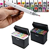 Yosoo 40/60/80/168 Assorted Colors Art Twin Tip 1mm/6mm Mark Pens Dual Brush Pen Art Markers Sketch Marker Pen Set+Pencil Bag (General Design, 168-White)