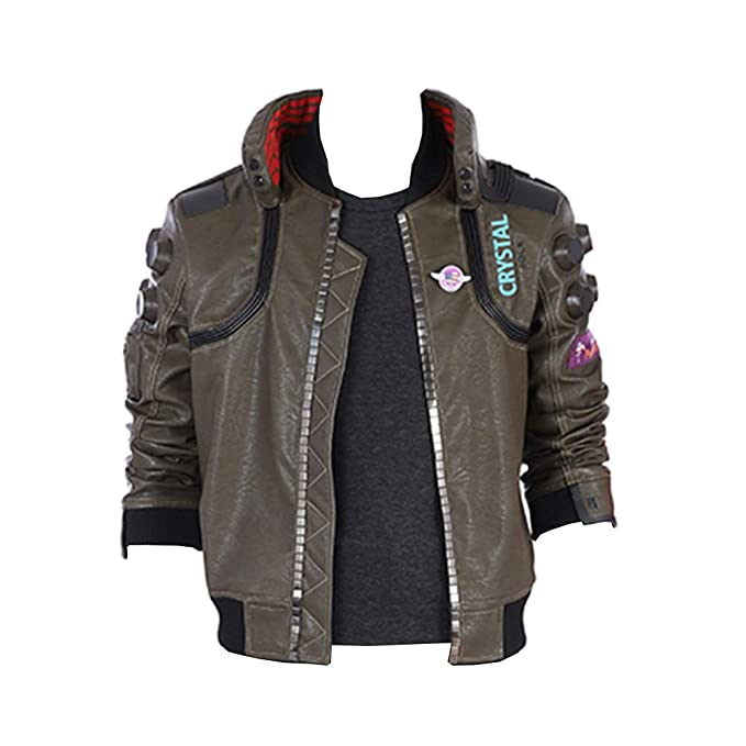 Game 2077 Cosplay Costume Men Casual Leather Jacket Coat Outwear Any Size