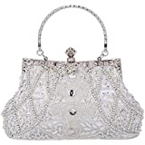 Clocolor Evening Bag and Clutches for Women Beaded Sequin Wedding Purse Party Bridal Handbag(Silver)