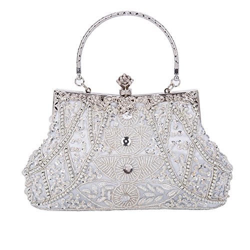 (Clocolor Evening Bag and Clutches for Women Beaded Sequin Wedding Purse Party Bridal)