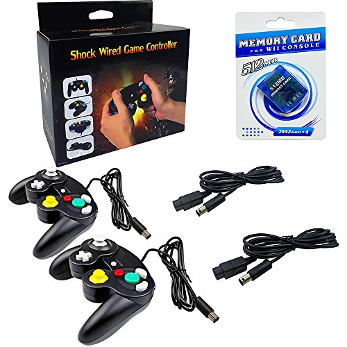 2 Pack Gamecube Controller With Extension Cables - And 512mb Gamecube Memory Card