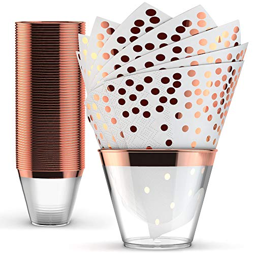 Rose Gold Plastic Cups & Napkins - Set