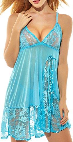 (ADOREJOY Womens Babydoll Lingerie Set Plus Size Sleepwear(L,Sky)