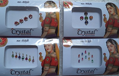Bindi Store Indian Designer Bindi for Women 4 Pack Traditional Colourful Bindi