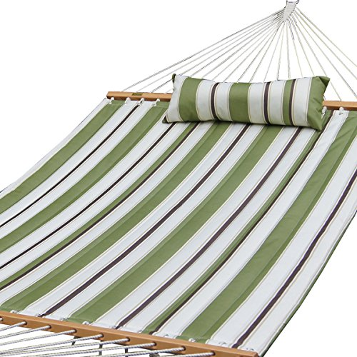 Prime Garden Quilted Fabric Hammock W/Pillow, Hardwood Spreader Bars, 2 People, Olive/White Stripe