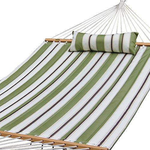 PG Prime GARDENPrime Garden Quilted Fabric Hammock W Pillow, Hardwood Spreader Bars, 2 People, Olive White Stripe