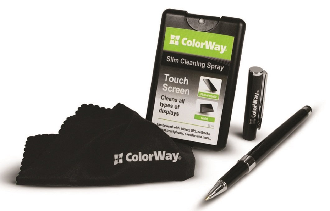 ColorWay Tablet Screen Cleaner Kit with Stylus and Microfiber Screen Cleaning Cloth for LED & LCD TV, iPad, Smartphone, Kindle Fire, Tablet Screens and other Mobile Devices
