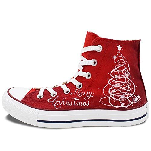 Wen Chaussures De Toile Peintes À La Main Joyeux Noël Père Noël Unisexes Chaussures Rouges
