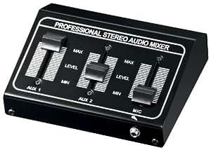 Wentronic 60927 - Controlador de volumen estéreo (entrada micrófono, 12 V), negro
