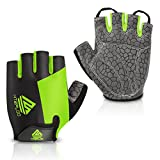 HTZPLOO Bike Gloves Bicycle Gloves Cycling Gloves Mountain Biking Gloves With Anti-slip Shock-absorbing Pad Breathable Half Finger Outdoor Sports Gloves For Men&Women (Black&Green, Large)