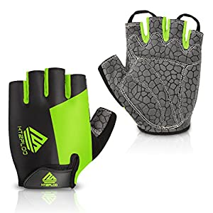 HTZPLOO Bike Gloves Cycling Gloves Mountain Bike Gloves for Men Women with Anti-Slip Shock-Absorbing Pad,Light Weight…