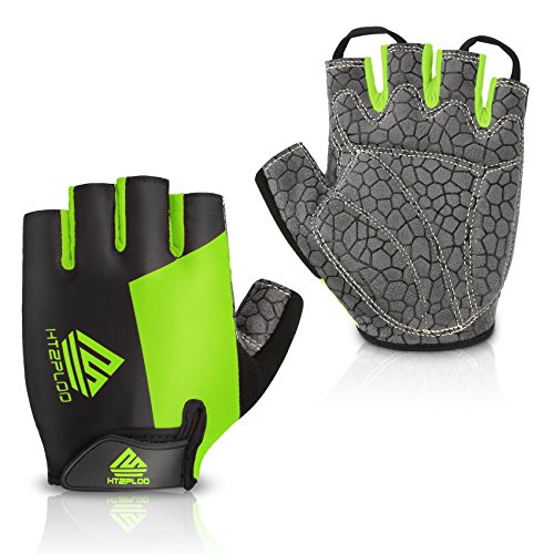 HTZPLOO Bike Gloves Bicycle Gloves Cycling Gloves Mountain Biking Gloves with Anti-Slip Shock-Absorbing Pad Breathable Half Finger Outdoor Sports Gloves for Men&Women (Black&Green, Medium) ()