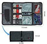 Cable organizer, Travel organizer,Valkit best electronics accessories wire cord cables tires wrap case cover bags rolling organizer fit cosmetic for weekender travel management, Large size-Dark grey