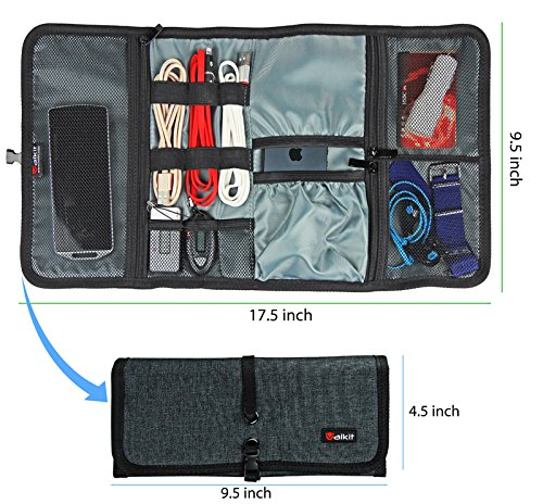 Cable organizer, Travel organizer,Valkit best electronics accessories wire cord cables tires wrap case cover bags rolling organizer fit cosmetic for weekender travel management, Large size-Dark grey (Weekender Coat)