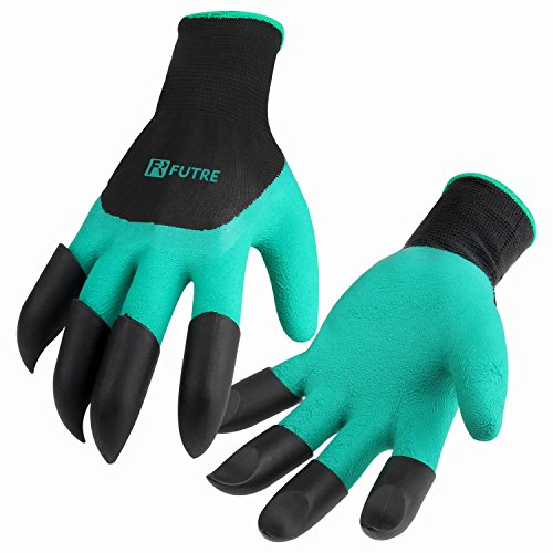 Garden Genie Gloves,FUTRE Genie Gloves With Claws for Digging & Planting (Claws on EACH -