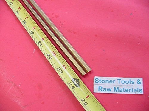 2 Pieces 1/4'' C360 BRASS HEX BAR 24'' long New Lathe Bar Stock .250'' 1/2 Hard by Stoner Metals