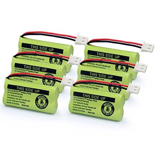 GEILIENERGY BT183342 BT283342 BT166342 BT266342 BT162342 BT262342 Battery Compatible for VTech CS6114 CS6419 CS6719 AT&T EL52300 CL80113 CS6114 CS6419 CS6719 EL52300 Cordless Phone (Pack of 6) -  CB06183342
