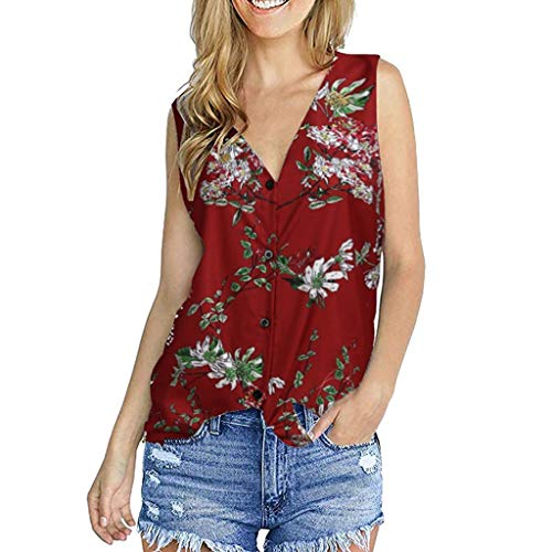 YOcheerful Women's Floral Printed Sleeveless T-Shirts Button Down Tunic Tops Elegant Loose Vests(Red, XL)