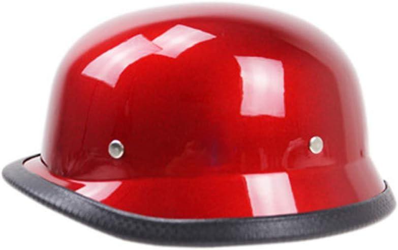 Casco medio estilo alem/án Motocicleta de crucero Scooter Casco para hombres y mujeres,Red,S Casco de Harley para motocicleta Personalidad de verano hecha a mano aprobado por el DOT de /época