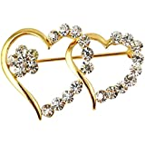 Silver Shoppee Valentine Special 21K Yellow Gold Plated Cubic Zirconia Studded Alloy Brooch for Girls and Women