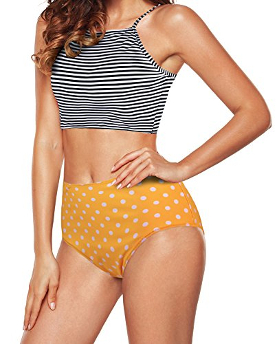 Angerella Womens Retro Classic Crop Top Bikini Two Piece Swimsuit Banded Swimwear (US 4-6=Tag Size L, Yellow-1)