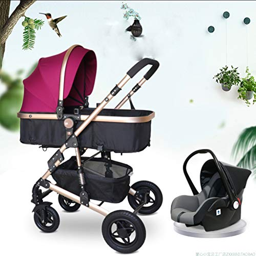 JIAX Pram Travel System 3 in 1, Adjustable High View Pram, Umbrella Stroller Travel System with Baby Basket and Anti-Shock Springs,Infant Carriage Pushchair (Color : Purple)