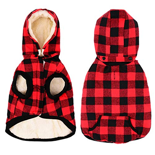 Urijk Dog Winter Coat Plaid Hoodie Jacket, Soft Warm Fleece British Style Hooded Dog Cold Weather Coat, Windproof Snow Proof Dog Winter Clothes Dog Snowsuit Apparel for Small Puppy Medium Large Dogs