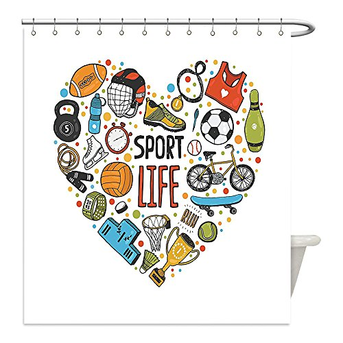 Figure Skating Holiday Costumes (Liguo88 Custom Waterproof Bathroom Shower Curtain Polyester Sports Decor Heart Figure With Sports Icons Swimming Skating Muscle Good Lifestyle Healthy Living Design Decor Multi Decorative bathroom)