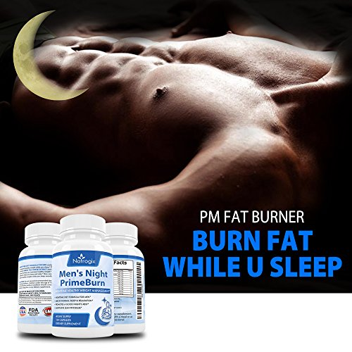 Natrogix Nighttime Fat Burner for Men, 120 Vcaps, Weight Management & Sleep Aid, to Burn Fat, Build Muscle and Boost Metabolism While You Sleep