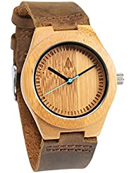 Treehut Mens Wooden Bamboo Watch with Genuine Brown Leather Strap Quartz Ana...