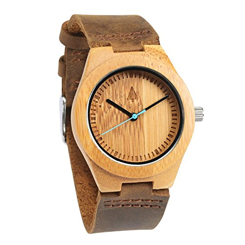 Treehut Men's Wooden Bamboo Watch with Genuine Brown Leather Strap Quartz - Watches Hut