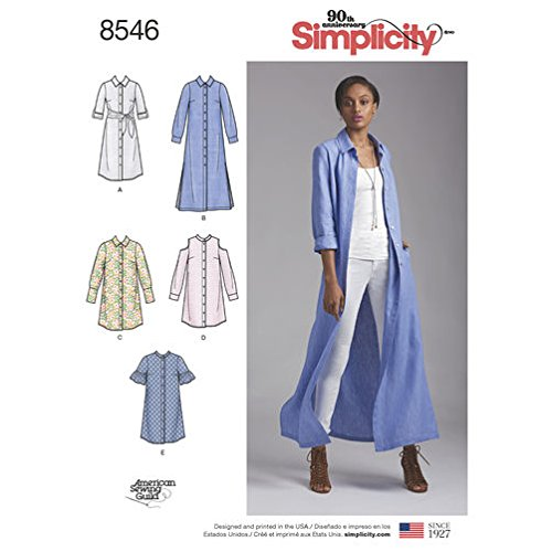 Simplicity Pattern 8546 Misses and Miss Petite Shirt Dresses Size 6.14 Sewing Pattern