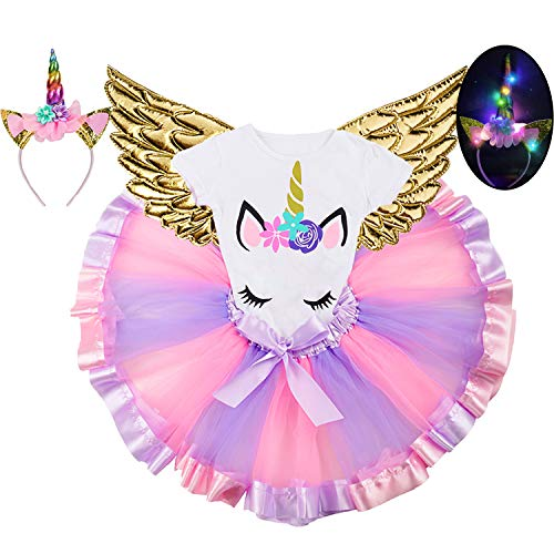 Girls 4Pcs Unicorn Dress Rainbow Tutu Skirt Birthday Party Dresses Princess Costume with Unicorn T-Shirt,LED Headband, Wings -