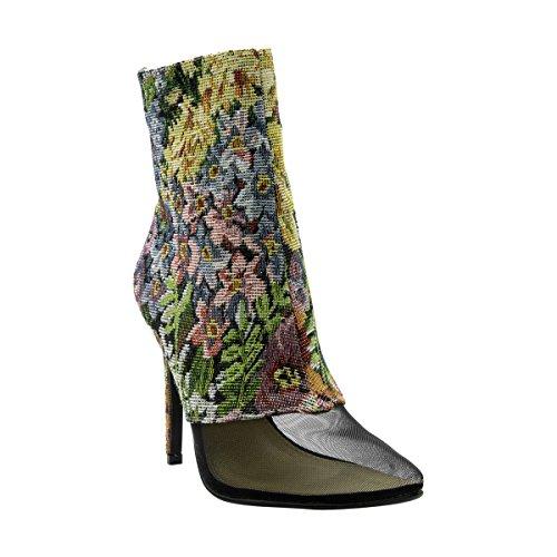 Cape Robbin - Kvinnor Mesh Spetsig Med Tydlig Häl Toffeln - Svart Svart / Flower Print