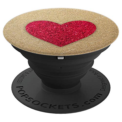 Red Hearts Love Gold Sand Collapsible Pop Out Mount - PopSockets Grip and Stand for Phones and Tablets